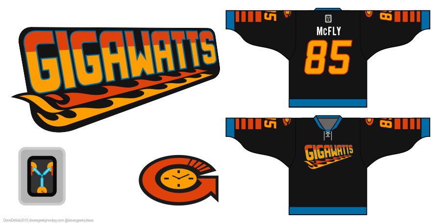 BTTF hockey jersey design by Dave Delisle