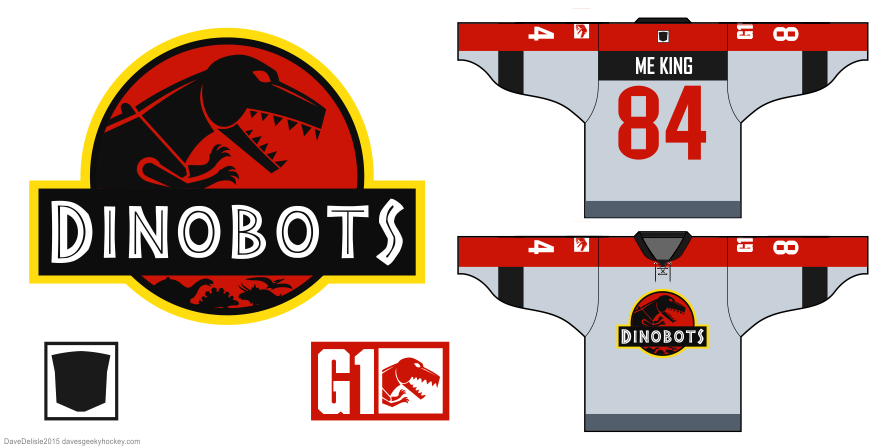 Dinobots hockey jersey design by Dave Delisle