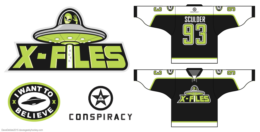X-Files hockey jersey design by Dave Delisle