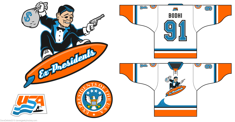 Point Break ex-presidents hockey jersey design by Dave Delisle