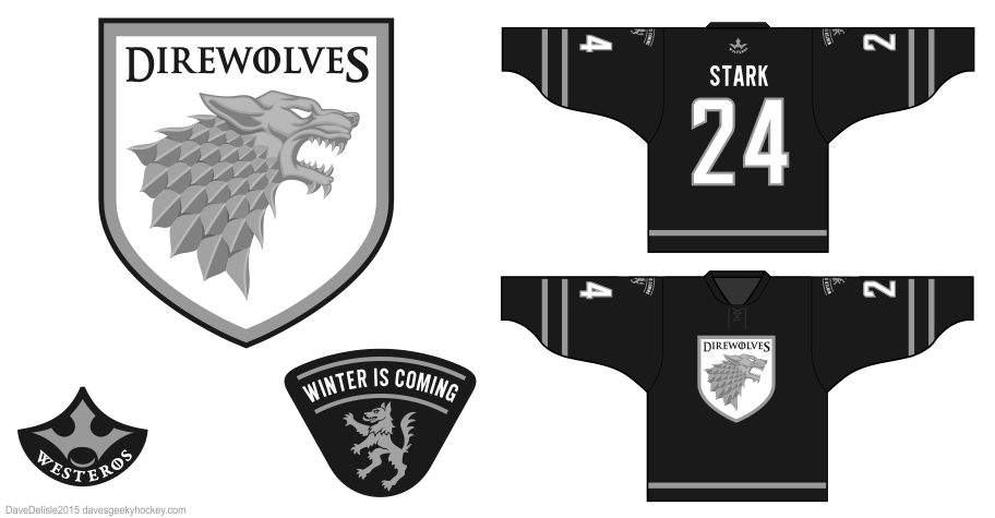 Direwolves 7.0 hockey jersey design by Dave Delisle
