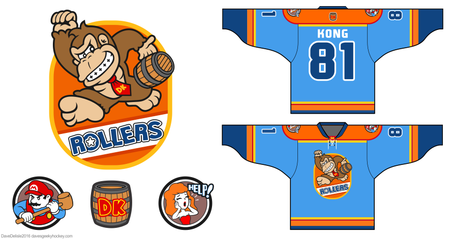 Donkey Kong hockey jersey design by Dave Delisle davesgeekyhockey