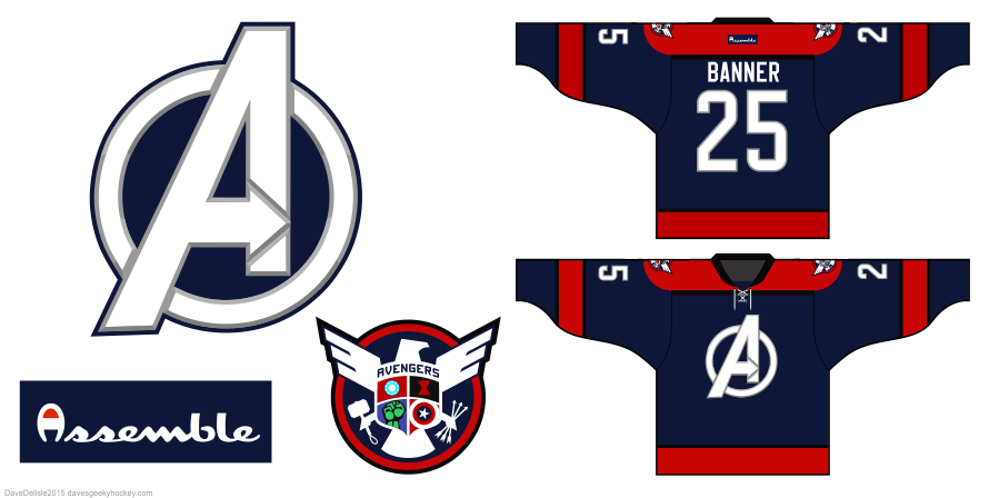 Avengers hockey jersey by Dave Delisle