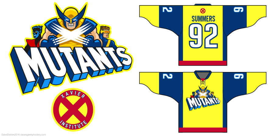 X-Men hockey jersey designs by Dave Delisle davesgeekyhockey
