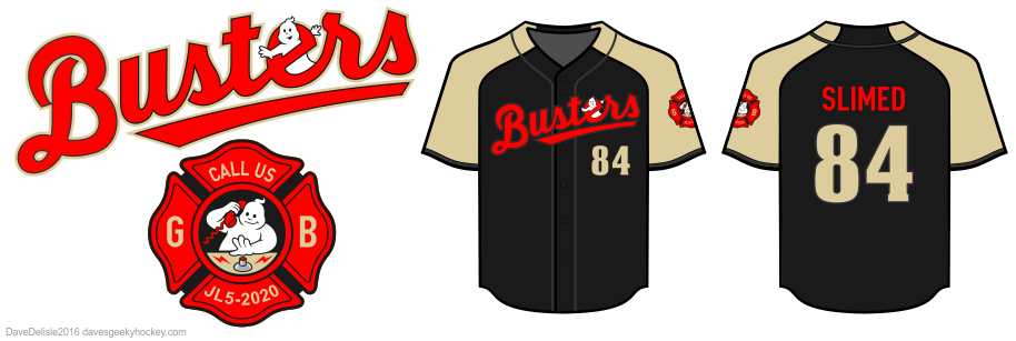 Busters baseball jersey design by Dave Delisle