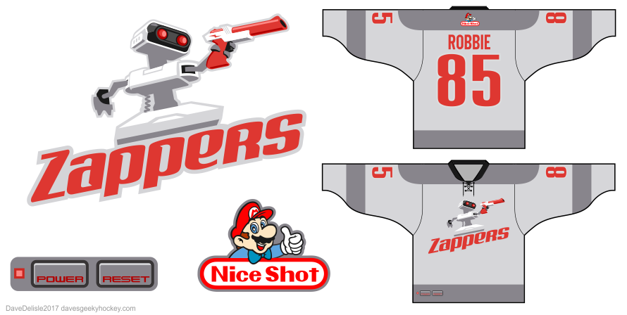 NES Zappers hockey jersey design by Dave Delisle