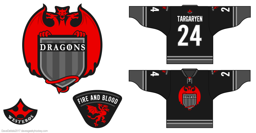 Dragons 5 hockey jersey by Dave Delisle