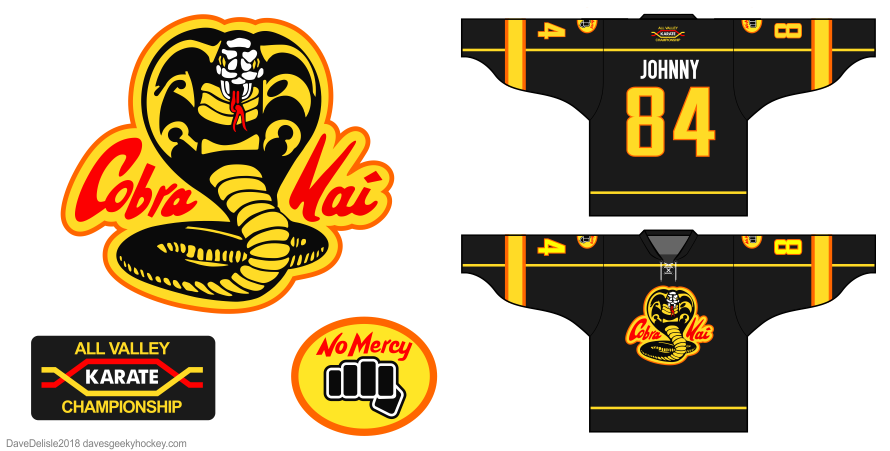 Cobra Kai hockey jersey design by Dave Delisle