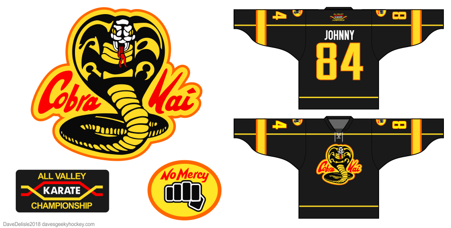 Cobra Kai hockey jersey design by Dave Delisle davesgeekyhockey