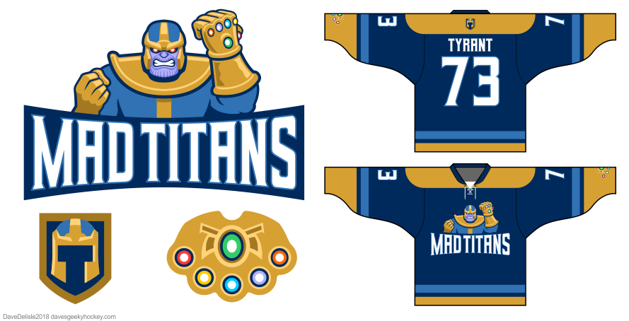 Mad Titans hockey jersey design by Dave Delisle