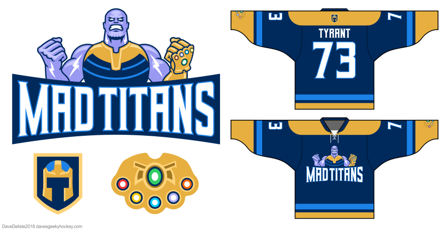 Mad Titans hockey jersey design by Dave Delisle davesgeekyhockey 2018