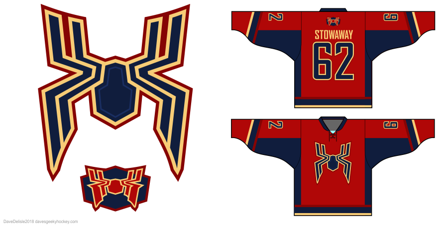 Iron Spider hockey jersey design by Dave Delisle