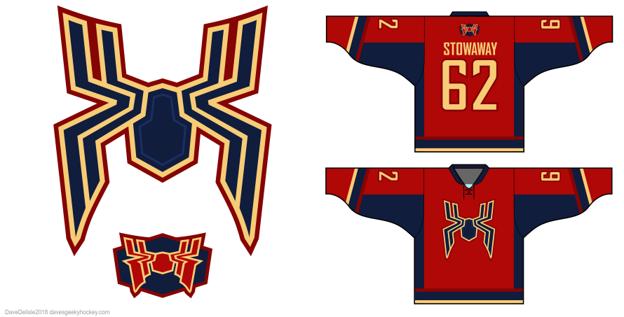 Iron Spider hockey jersey design by Dave Delisle davesgeekyhockey