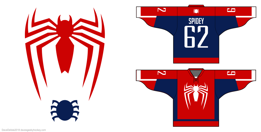 spider-man 2018 video game design hockey jersey by Dave Delisle