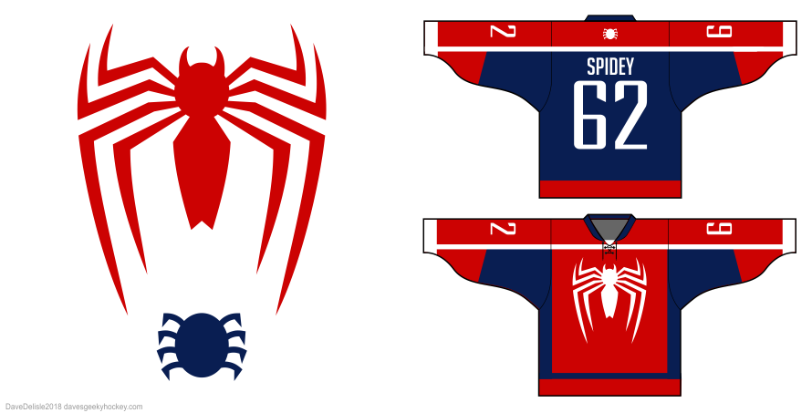 2018 Spider-Man video game hockey jersey design by Dave Delisle davesgeekyhockey
