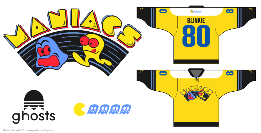 Pac-Man hockey jersey design by Dave Delisle davesgeekyhockey