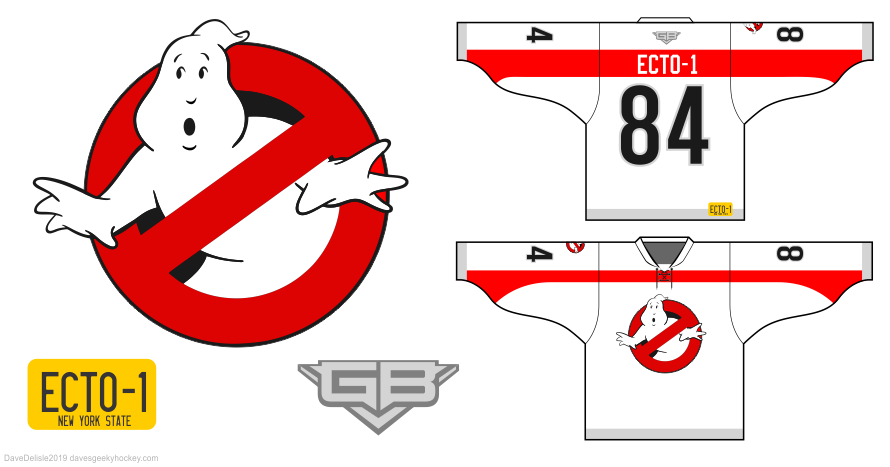 ECTO-1 hockey jersey design by Dave Delisle davesgeekyhockey