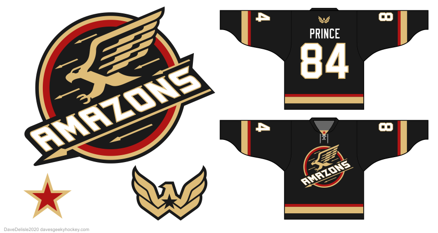 Amazons 1984 80's hockey jersey design by Dave Delisle
