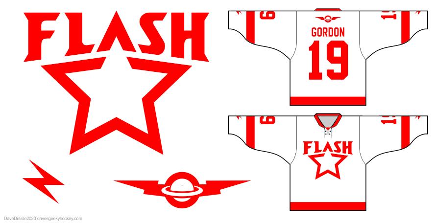 Flash Gordon hockey jersey design 2020 dave delisle davesgeekyideas