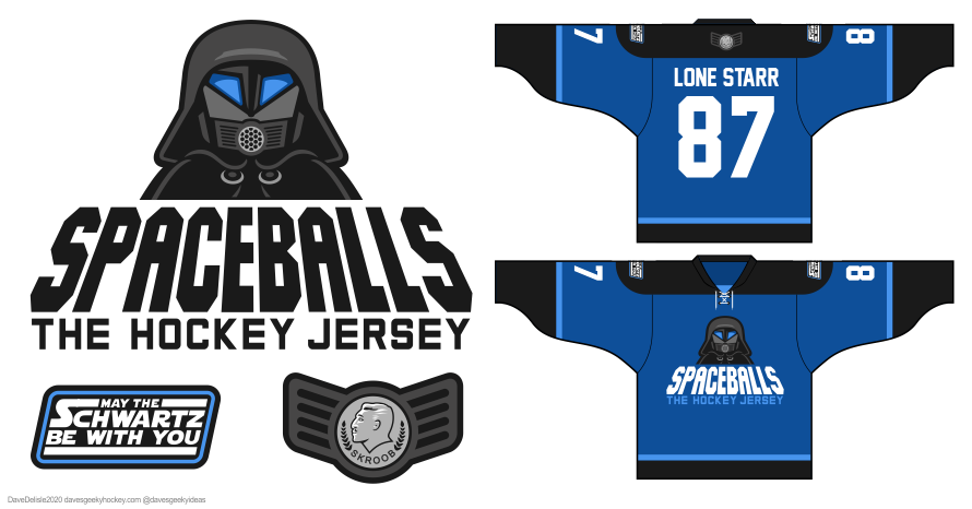 Spaceballs 3.0 hockey jersey design 2020 dave delisle davesgeekyhockey