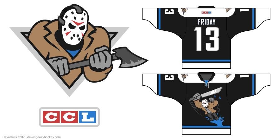 Jason Voorhees hockey jersey design Calgary Hitmen Anaheim Ducks Wild Wing Friday 13th